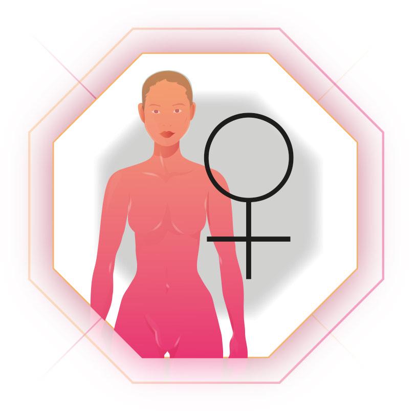 Illustration Frau mit Weiblichkeitszeichen