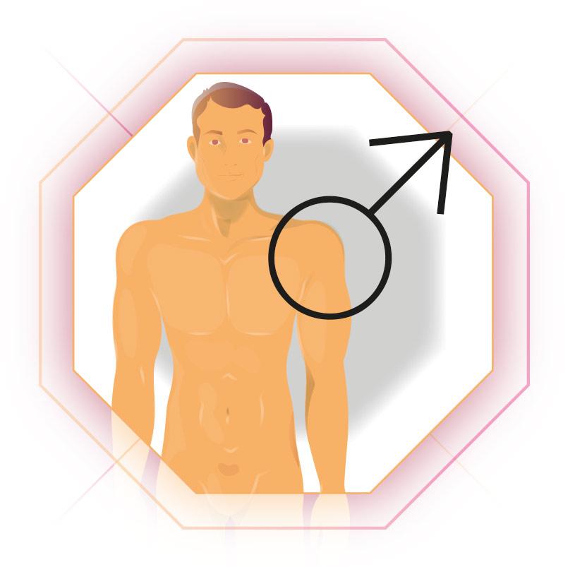 Illustration Mann mit Männlichkeits-Zeichen