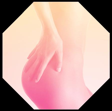 Oktagon mit Frauensilhouette im Hüftbereich