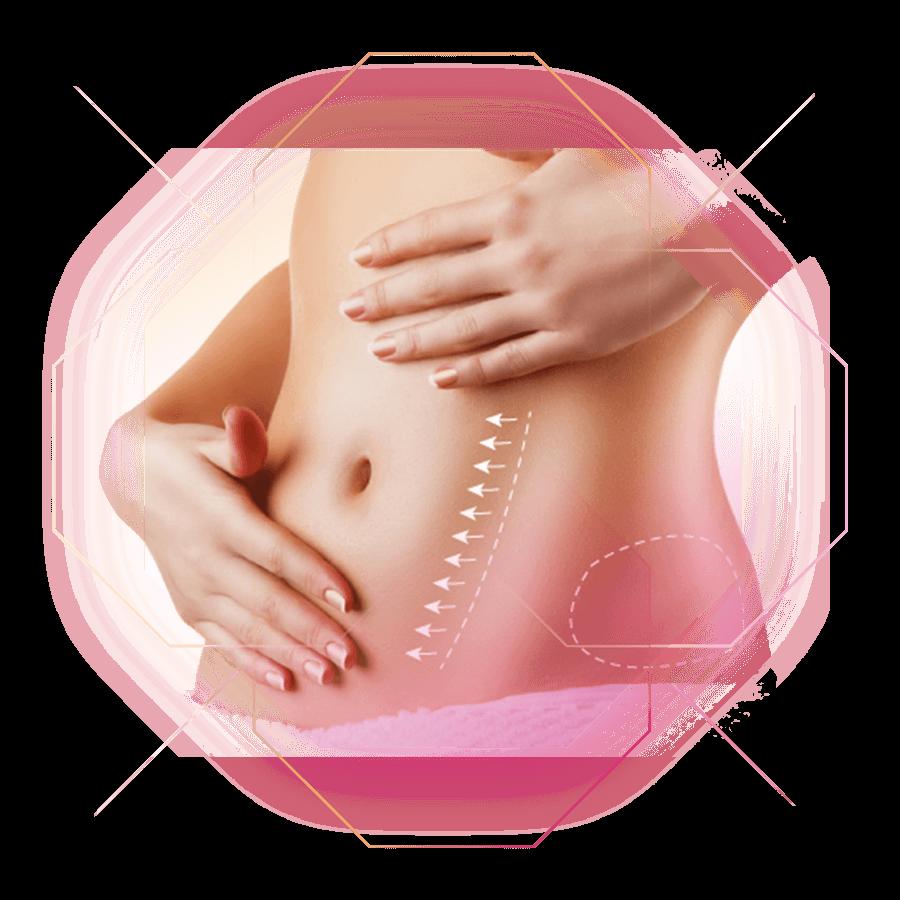 Bauch Fettproblemzonen eingezeichnet bei der Frau